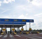 TULA, RUSLAND - 20 05 2015 De betalingspunten op weg M4 trekken aan Stock Fotografie