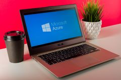 Free Tula, Russia - AUGUST 18, 2019: Microsoft Azure Displayed On A Modern Laptop On Desk Royalty Free Stock Photo - 156311965