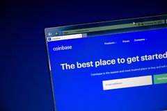 Tula, Russia - August 28, 2018: CoinBase website on the display of PC, url - CoinBase.com. royalty free stock image