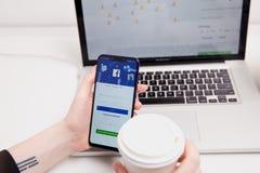 Tula, Russia - 18 febbraio 2019: Logo sociale del app di media di Facebook sulla connessione, pagina di registrazione di impegno  fotografia stock libera da diritti