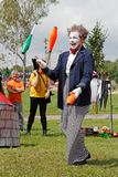 Clown at the festival of street theatres `Theatrical courtyard» in Tula Theatre `Independent clowning DOJ`. Tula, Russia - July 22, 2018: Clown at the royalty free stock photography