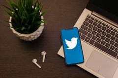 Tula, Russia - May 24,2019: Apple iPhone X with Twitter logo on the screen. Image stock images