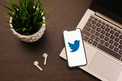 Tula, Russia - May 24,2019: Apple iPhone X with Twitter logo on the screen. Image royalty free stock photo