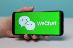 Tula, Russia - May 12 , 2019: WeChat on phone display. Tula, Russia - May 12 2019: WeChat on phone display royalty free stock image