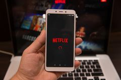 Tula, Russia - October 31, 2018: - Netflix application running on android . Netflix is one of the most popular global. Provider of streaming stock photography