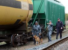 Officers of departmental security patrol the territory of the railway station with a policeman. Stock Images