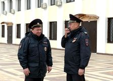 Policemen on the platform apron in Tula. Royalty Free Stock Photography