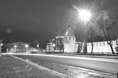 Tula. Tower and wall of the Kremlin Armory capital of Russia. Black and white monochrome photo. Tula. Tower and wall of the Kremlin Armory capital of Russia royalty free stock images