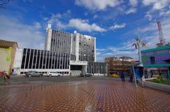 TULCAN,厄瓜多尔- 2016年7月3日:市政厅位于在苏克雷和10条de agosto大道之间的交叉点 免版税库存照片