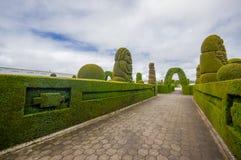 TULCAN, ЭКВАДОР - 3-ЬЕ ИЮЛЯ 2016: путь кладбища с геометрическими дизайнами на деревьях Стоковое Изображение