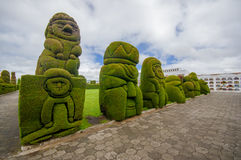TULCAN, ECUADOR - JULY 3, 2016: some topiary figures located in the garden of the cemetery Stock Images