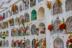 TULCAN, EQUATEUR - 3 JUILLET 2016 : tombes verticales avec quelques fleurs sur le côté de chacun Photos libres de droits