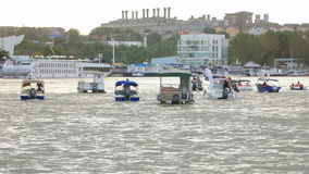 Tulcea city harbor and boats on the river Danube stock video