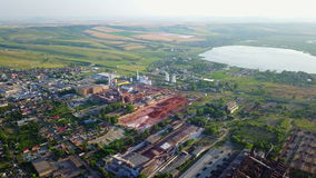 Tulcea city industrial landscape. Aerial view stock footage