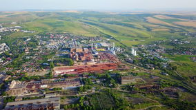 Tulcea city industrial landscape. Aerial view stock video