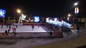 Tulcea,december 23:Christmas lights by night at Skating-ring from Tulcea in Romania stock video