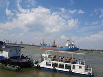 Ships in Tulcea harbor, Danube Delta, Romania. Tulcea harbor, Danube Delta, Romania royalty free stock image