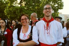 Italian group of dancers in traditional costumes at the International Folklore Festival for Children and Youth. TULCEA, ROMANIA - AUGUST 08: Italian group of stock photography