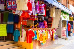 Achitecture of Oaxaca. TULE, MEXICO- OCT 31, 2016: Market place with the original traditional Mexican souvenirs and clothing, which are popular among the stock photos