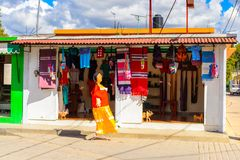 Achitecture of Oaxaca. TULE, MEXICO- OCT 31, 2016: Market place with the original traditional Mexican souvenirs and clothing, which are popular among the royalty free stock images