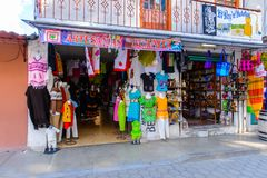 Achitecture of Oaxaca. TULE, MEXICO- OCT 31, 2016: Market place with the original traditional Mexican souvenirs and clothing, which are popular among the royalty free stock photos