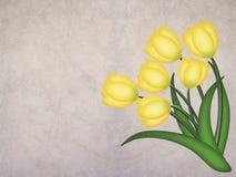 Tulipán amarillo del grunge en fondo textured Foto de archivo libre de regalías