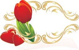 Tulipán, corazones y ornamento gótico. Composición Imagen de archivo