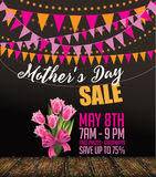 Tulipán de la venta del día de madres y fondo del empavesado stock de ilustración