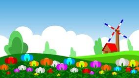 Tulipán en prado, casa y veleta libre illustration