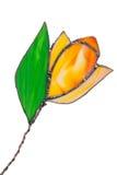 Tulipán hecho a mano del vitral anaranjado aislado Fotografía de archivo libre de regalías