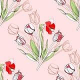 Безшовная картина с амарулисом и tulip-05 Стоковая Фотография