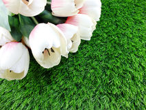 Tulip artificial flower on a green grass space for text Royalty Free Stock Photos