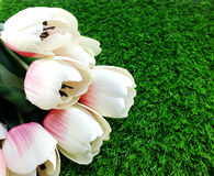 Tulip artificial flower on a green grass space for text Royalty Free Stock Photo