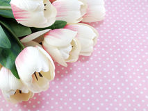 Tulip artificial flower on pink background space for text Stock Photo