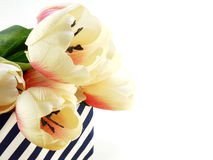 Tulip artificial flower on white background space for text Royalty Free Stock Photography