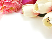 tulip artificial flower on white background space for text Stock Images