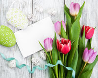 Tulip bouquet and blank greeting easter card Royalty Free Stock Photography