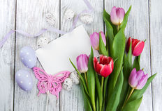 Tulip bouquet and blank greeting easter card Stock Image