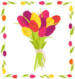 Tulip bouquet card Royalty Free Stock Images