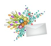 Tulip Bouquet with Christmas Balls and Envelope Stock Images