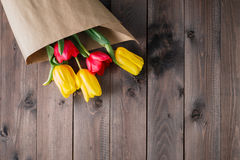 Tulip bouquet in craft paper Royalty Free Stock Photo
