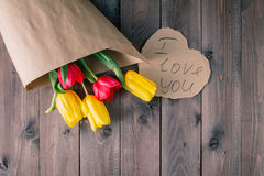 Tulip bouquet in craft paper Royalty Free Stock Image