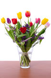 Tulip bouquet in crystal vase Royalty Free Stock Photos