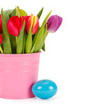 Tulip bouquet and Easter egg Stock Image