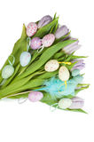 Tulip bouquet and Easter eggs Royalty Free Stock Photos