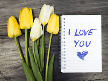 Tulip bouquet and notepad Stock Images