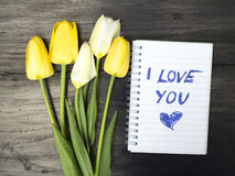 Tulip bouquet and notepad with words I love you stock photos