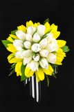 Tulip bouquet with ribbon Stock Images