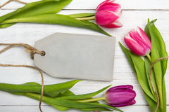Tulip bouquet on white wooden background, Stock Photo
