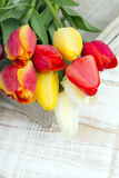 Tulip bouquet on white wooden background Royalty Free Stock Photography